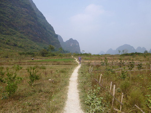 Marc riding through the Yangshuo countryside