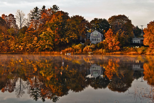 morning autumn trees house reflection fall water sunrise river portland landscape nikon october village maine scenic newengland 2012 stroudwater d90 foreriver