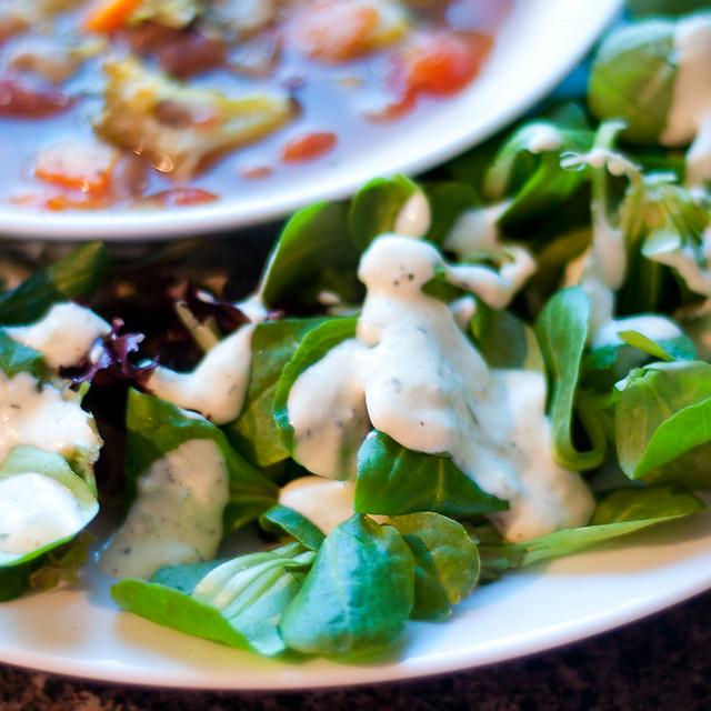 hearty minestrone with buttermilk ranch salad
