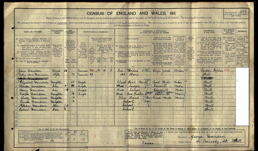 George Davidson 1911 census