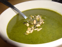vegetable(0.0), cream of mushroom soup(0.0), produce(0.0), vegetarian food(1.0), green sauce(1.0), food(1.0), leek soup(1.0), dish(1.0), soup(1.0), cuisine(1.0),