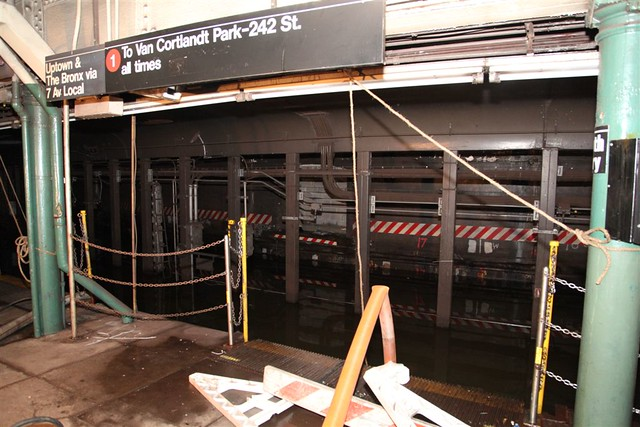 Damage to South Ferry Station Platform in New York City Transit system