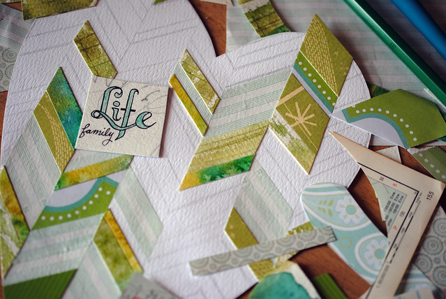 green chevron heart collage