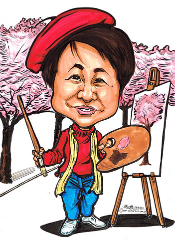artist caricature painting cherry blossoms