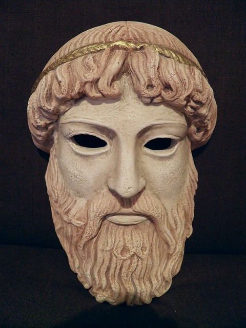 Ancient Greek theatrical mask of Zeus, replica
