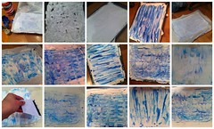 playing with shaving cream and blue paint/ink