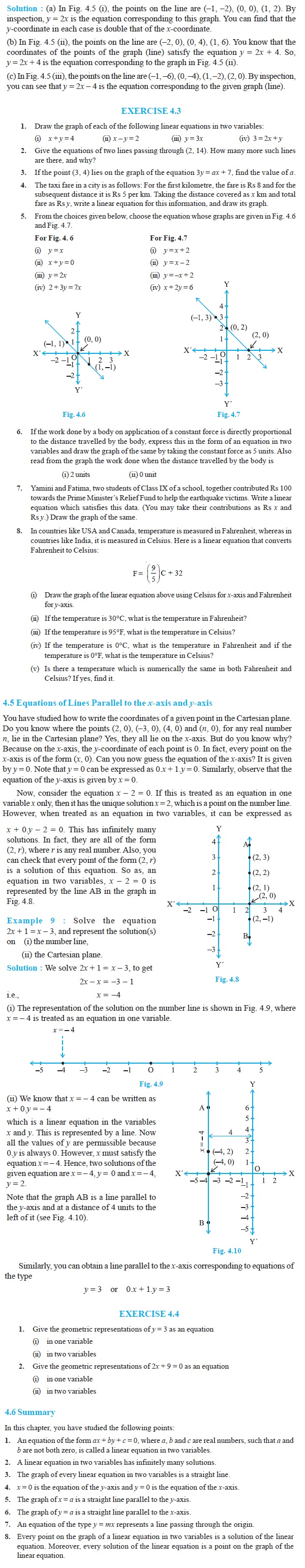 NCERT Class IX Maths Chapter 4 Linear Equations in two variables