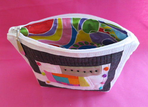 The insides of my first zippered pouch
