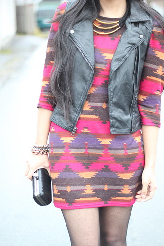 Tribal print + Leather