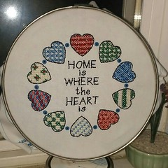 The hoop seemed to win-I put it in a metal one and it's on the window sill. Looks great-thanks for the suggestions!! #crossstitch #crafts #handmade
