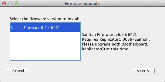 Selecting the Replicator 1 firmware to install