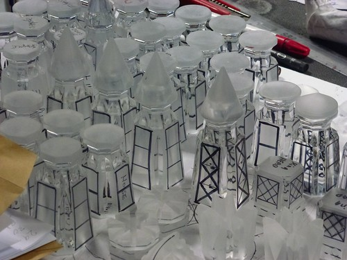 Glassware marked for engraving