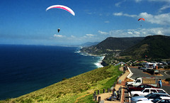 """Sep 1997 - Paragliders launching off """"Bald Hill"""", Stanwell Tops, north of Stanwell Park, New South Wales, Australia"""