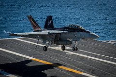 An F/A-18F Super Hornet assigned to the Black Knights of Strike Fighter Squadron (VFA) 154 lands on the flight deck of the aircraft carrier USS Nimitz (CVN 68) in the Pacific, Oct. 14. (U.S. Navy photo by Mass Communication Specialist 3rd Class Raul Moreno Jr.)
