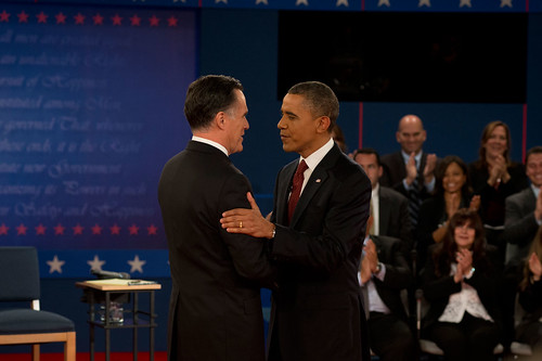 Barack Obama and Mitt Romney at the second presidential debate—October 16th