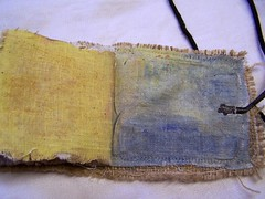 tinted gesso on linen 'pages'