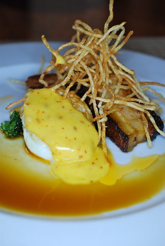 Bacon Pickled Pork Belly with Ramp Kraut and Fried Egg and Spicy Hollandaise