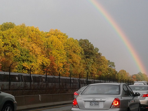 Rainbow with Orange Line Metro train from I-66
