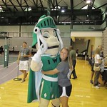 Tommy the Titan and Hannah Corley hug it out during the Turning Titan check-in! --