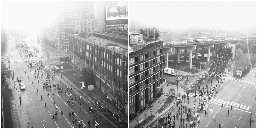 diptych of the scotiabank toronto waterfront marathon shot with a rolleiflex in black and white