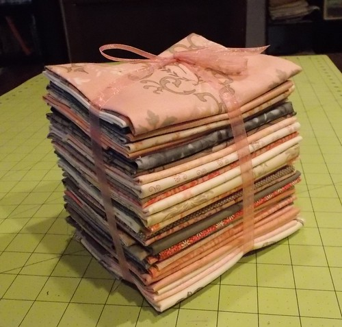 Pink and gray fabric stack 005