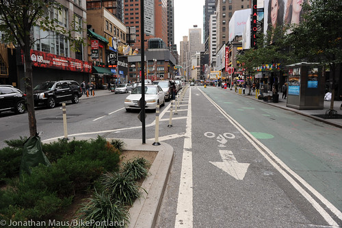 Broadway protected bike lane and plazas-5