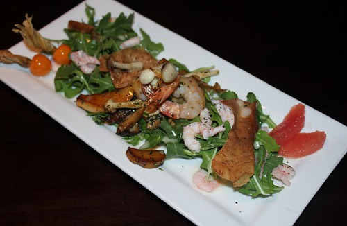 Prawn, Shrimp, & Wild Mushrooms Salad, pan seared prawns and wild local mushrooms, hand peeled shrimp, arugula, grapefruit, taro root crisps, lemon-hazelnut vinaigrette