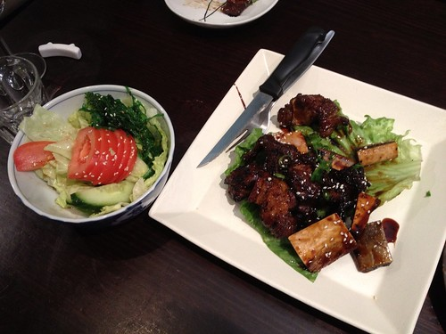 Ribs and seaweed salad