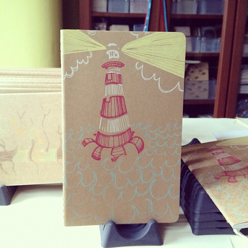 Printing up a storm! A peek at the 1st layers of two new Moleskine designs for @craftybastards