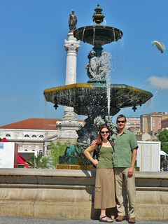 Clare & Dennis at Fountain in Rossio Square, Lisbon