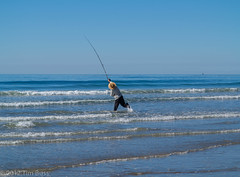 fishing, sea, ocean, casting fishing, wind, wind wave, surf fishing, wave, shore,