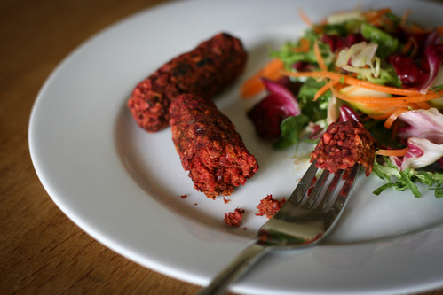 Beetroot & Walnut Sausages