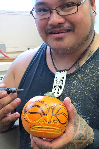 <p>Halloween pumpkin carving by Windward Community College woodcarving students</p>