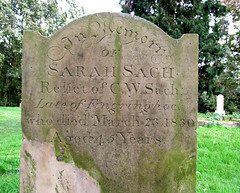 Relict of C W Sach late of Fingringhoe