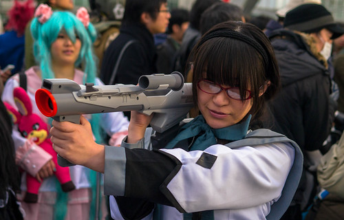 Cosplay of Homura with a Super-scope.