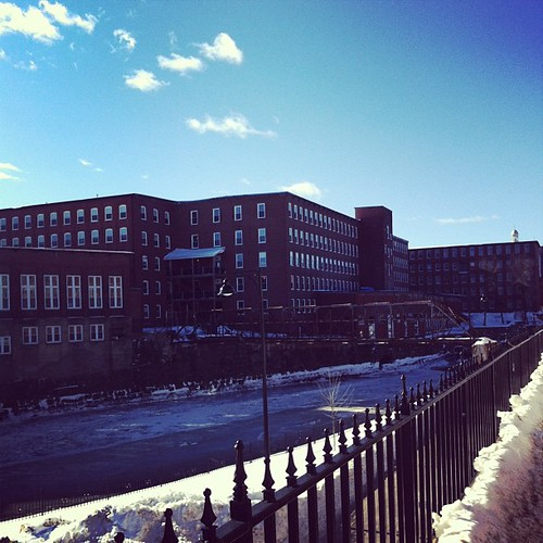 the old textile mills on the Saco River #maine