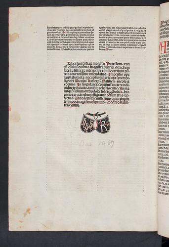 Colophon and printer's device of Petrus Lombardus: Sententiarum libri IV