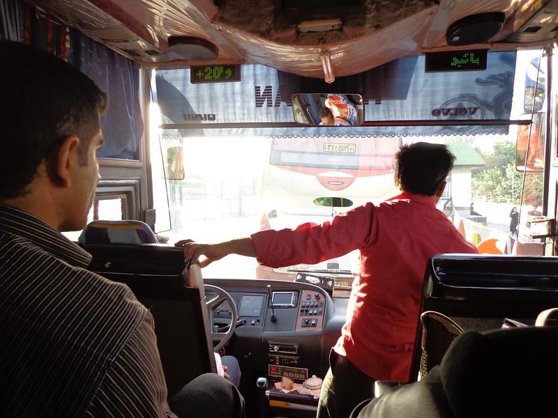 Fotografia do interior do autocarro até Mashhad, Irão