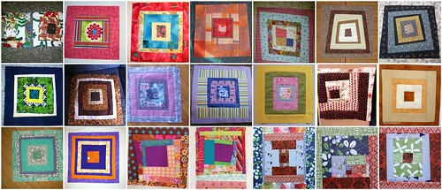 Free Form Log Cabin Blocks for the 'My Favorite Block Quilt Along'
