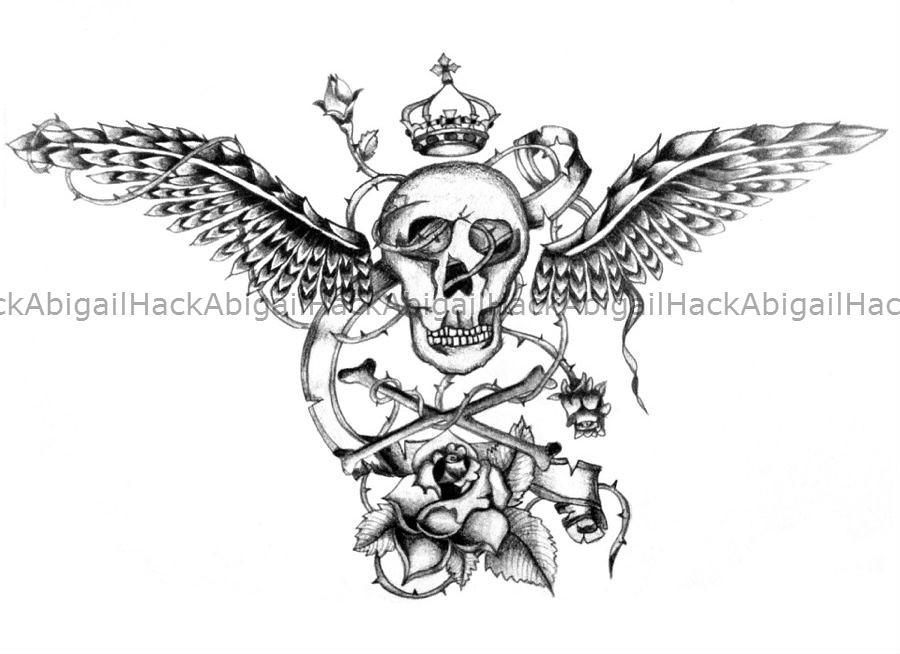 Wings Skull Rose Tattoo Design Sketch Abigail Hack Flickr
