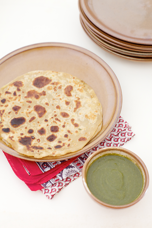 Mooli Paratha/Radish Stuffed Indian Flatbread With Mint Coriander Green Chutney
