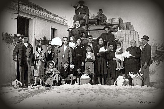 chutes de neige dans le sud de l'Espagne et du Portugal début février 1954 météopassion