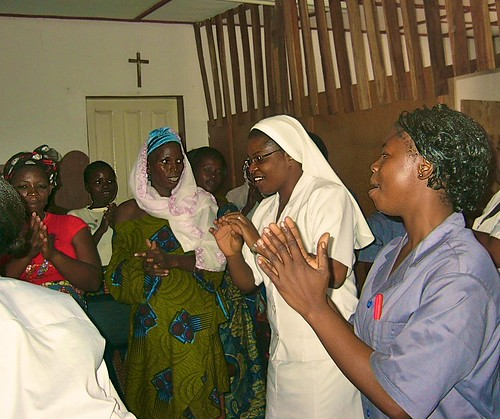 As part of the antenatal services at the clinic, women are encouraged to exercise during pregnancy by singing and dancing, before a health talk is given to them