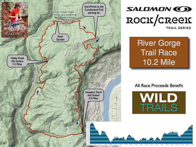 Rock/Creek River Gorge Trail Race -  10.2 mile course map