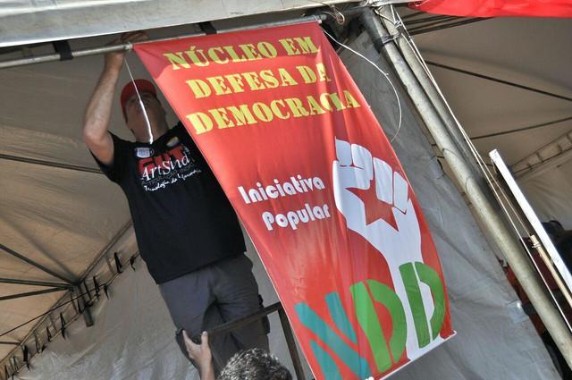Diversos militantes de organizações das frentes Brasil Popular e Povo sem Medo iniciam montagem do acampamento - Créditos: Foto: Divulgação/FBP
