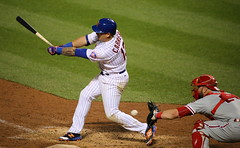 The Mets' Asdrubal Cabrera swings at a pitch in the ninth inning.