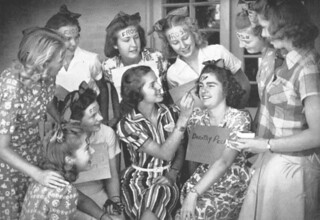 "First-year women paint ""frosh"" on their foreheads. Photo from 1939 Metate."