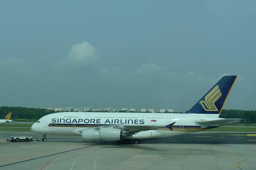 準備起飛的 A380 (SQ217)