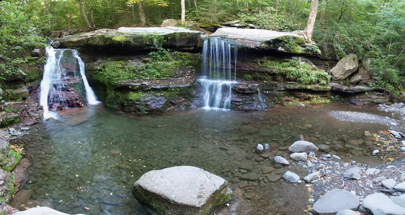 Panorama shot of Diamond Notch Falls on the Devil's Path