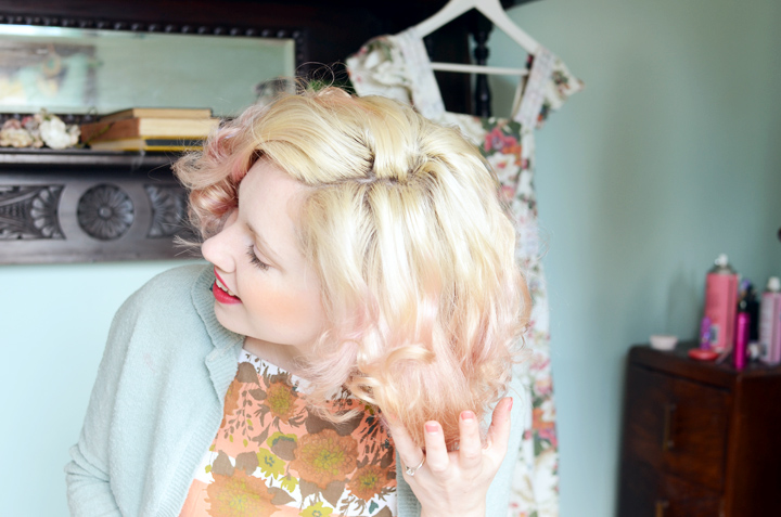 mauve hair coral floral b